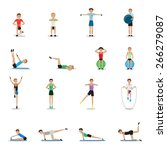 fitness people workouts set  ... | Shutterstock .eps vector #266279087