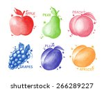 fruits and berries set   apple  ... | Shutterstock . vector #266289227