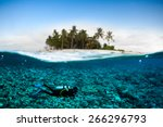 scuba diving diver below... | Shutterstock . vector #266296793