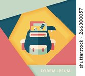 backpack flat icon with long... | Shutterstock .eps vector #266300057