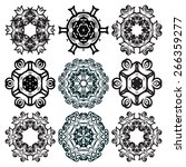 a set of round ornaments.... | Shutterstock .eps vector #266359277