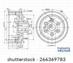 technical drawing wheel  ... | Shutterstock .eps vector #266369783
