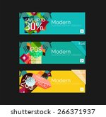 set of banners with stickers ... | Shutterstock .eps vector #266371937