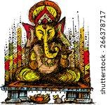 lord ganesha colour 1 | Shutterstock .eps vector #266378717