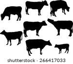 cows and calf 2 vector...   Shutterstock .eps vector #266417033
