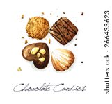 chocolate candies   watercolor... | Shutterstock . vector #266433623
