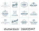 set of vector education icons... | Shutterstock .eps vector #266435447
