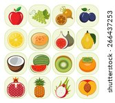 set of different kinds of fruit ... | Shutterstock .eps vector #266437253