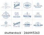 set of vector wedding love... | Shutterstock .eps vector #266445263