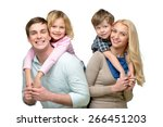 cheerful smiling family of four ... | Shutterstock . vector #266451203