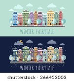 day and night a small town. | Shutterstock .eps vector #266453003