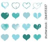 vector set of turquoise sketch...   Shutterstock .eps vector #266455337