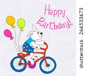bunny on a bike with balls | Shutterstock .eps vector #266533673