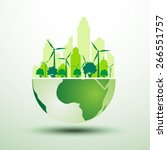 green city with green eco earth ... | Shutterstock .eps vector #266551757