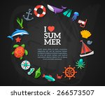 summer concept. flat icons... | Shutterstock .eps vector #266573507