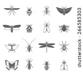 insects black icons set with... | Shutterstock .eps vector #266585303