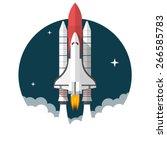 space shuttle  flat design ...   Shutterstock .eps vector #266585783