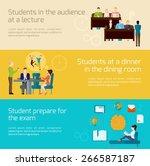 students horizontal banner set... | Shutterstock .eps vector #266587187