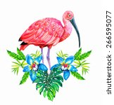 a large tropical floral design... | Shutterstock . vector #266595077