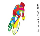 abstract colorful cyclist | Shutterstock .eps vector #266612873
