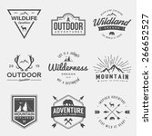 vector set of wilderness and nature exploration vintage  logos, emblems, silhouettes and design elements | Shutterstock vector #266652527