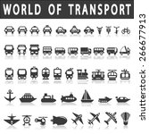 transport icons  cars  ships ... | Shutterstock .eps vector #266677913