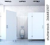 public toilet cubicle. 3d...   Shutterstock . vector #266681507