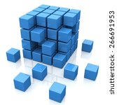3d. Block  Cube  Block.