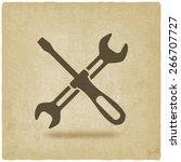 screw driver and wrench symbol...