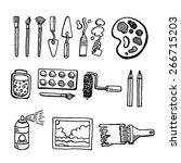 artist tools hand drawn set...   Shutterstock .eps vector #266715203