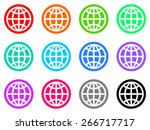 earth colorful vector flat icon ... | Shutterstock .eps vector #266717717