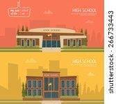 High School Building Vector...