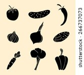vector set of vegetables icons. | Shutterstock .eps vector #266737073