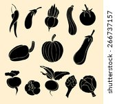 vector set of vegetables icons. | Shutterstock .eps vector #266737157