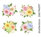 Set Of Four Vector Bouquets Of...