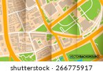 brochure with folds city map | Shutterstock .eps vector #266775917