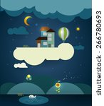 abstract paper cut fantasy home ... | Shutterstock .eps vector #266780693