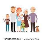 big happy family. father mother ... | Shutterstock .eps vector #266798717