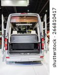 Small photo of Nonthaburi,Thailand - March 26th, 2015: Rear space of Benz Airstream Interstate Ext,showed in Thailand the 36th Bangkok International Motor Show on 26 March 2015