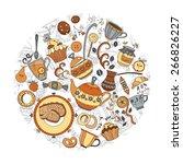 vector circle made from tea ... | Shutterstock .eps vector #266826227
