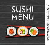 sushi vector background.... | Shutterstock .eps vector #266866577