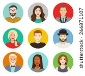 set of avatar flat design icons.... | Shutterstock .eps vector #266871107