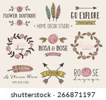 a set of hand drawn vintage... | Shutterstock .eps vector #266871197