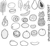 isolated set of tropical fruits.... | Shutterstock .eps vector #266878097