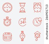 time and clock icons  flat... | Shutterstock .eps vector #266901713