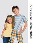 a portrait of two happy little... | Shutterstock . vector #266916677