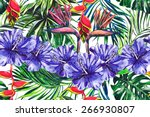 beautiful seamless floral... | Shutterstock . vector #266930807