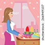 housewife prepares dinner | Shutterstock .eps vector #266949107