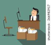 overworked  tired cartoon... | Shutterstock .eps vector #266982917