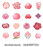 Stock vector set of rose flower design elements 266989703